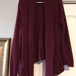 Sweaters - Maroon Cardigan Sweater oversized with pockets